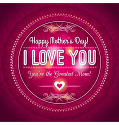 Red Mothers day greeting card with hearts vector