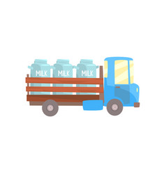 Retro milk farmer truck delivery and vector