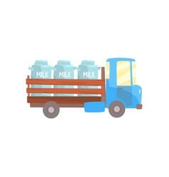 retro milk farmer truck delivery and vector image