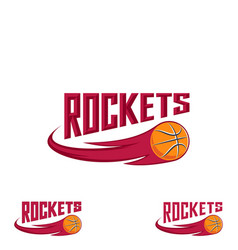 rocket basketball logo for the team and the cup vector image