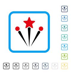 salute fireworks framed icon vector image