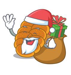 Santa with gift challah mascot cartoon style vector