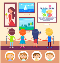 School kids in art gallery pictures exhibition vector