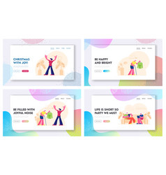senior people lifestyle website landing page set vector image