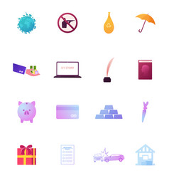 set icons earth with animals species hunting vector image