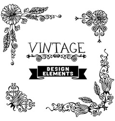 Set of black floral vintage corners isolated on vector image