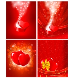 Set of Valentines day backgrounds vector image