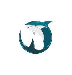 shark logo round form abstract vector image