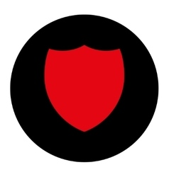Shield flat intensive red and black colors round vector