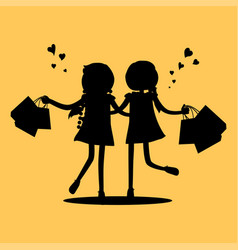 silhouettes girls with shopping bags friends vector image