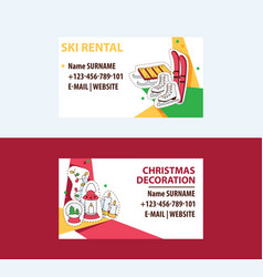 ski rental and cristmas decorations business cards vector image