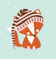 sleeping cute fox in hood vector image
