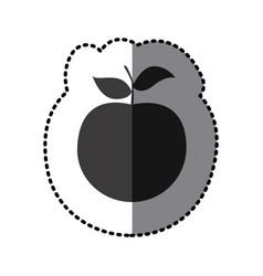 sticker shading monochrome apple fruit icon vector image