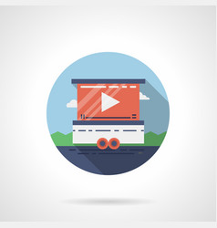 Street video screen flat round icon vector