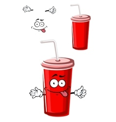 Takeaway red beverage cup character vector image