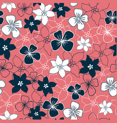 teal and white flower mix seamless pattern vector image