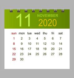 template calendar for november 2020 week vector image