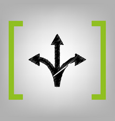 Three-way direction arrow sign black vector