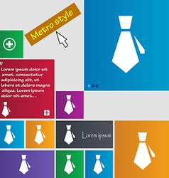 tie icon sign buttons Modern interface website vector image