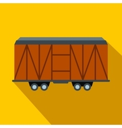 Train cargo wagon flat icon vector