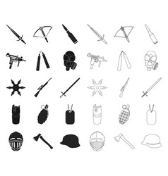 types of weapons blackoutline icons in set vector image