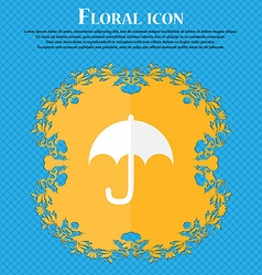 Umbrella Floral flat design on a blue abstract vector image