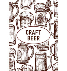vintage engraving style craft beer menu template vector image