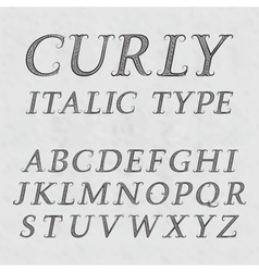 Vintage patterned letters Curly italic type font vector