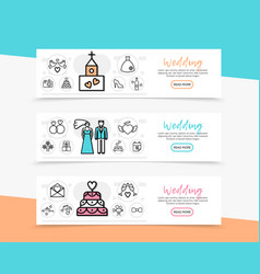 Wedding horizontal banners vector