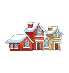 Winter houses of christmas season design vector