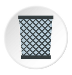 Wire metal bin icon circle vector