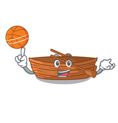 with basketball wooden boat in the cartoon shape vector image