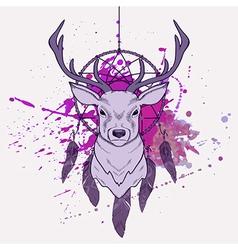 With deer dream catcher and watercolor spla vector