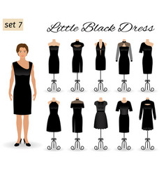 Woman model character dressed in little black vector