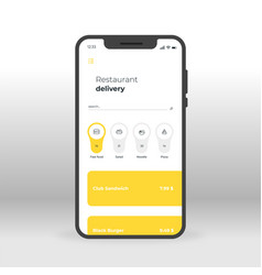yellow and gray restaurant delivery ui ux gui vector image