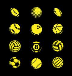 yellow sport balls grunge vector image