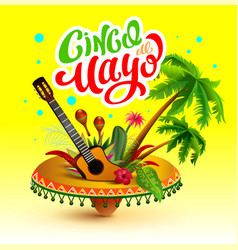 cinco de mayo banner lettering text greeting card vector image