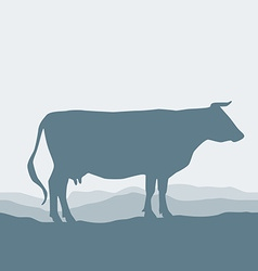 Cow silhouette graze in the field landscape sky vector image