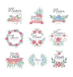 flower shop logo design set of colorful watercolor vector image vector image