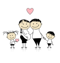 Happy parents with children vector image vector image