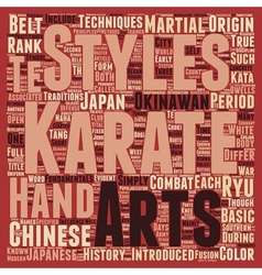 History And Fundamentals Of Karate text background vector image vector image