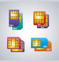 icons dual sim card vector image vector image