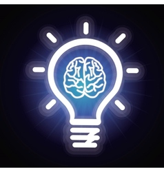 light bulb and brain icon vector image vector image
