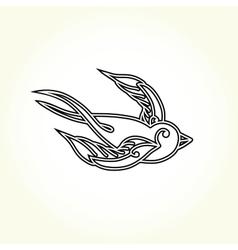 Old school swallow bird tattoo vector image