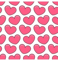 Pink contour heart seamless pattern wrapping vector