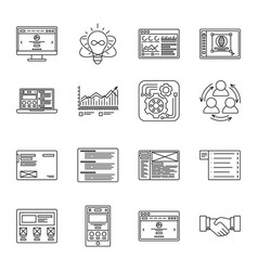 technology and business thin line icons set vector image