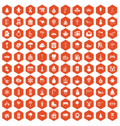 100 winter holidays icons hexagon orange vector image vector image
