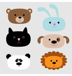 Animal head set Cartoon bear rabbit cat dog panda vector image
