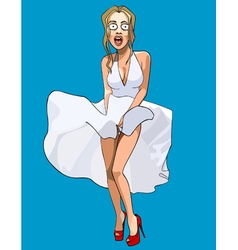 cartoon funny surprised woman with her skirt vector image vector image
