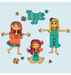 Group of hippie girls vector image